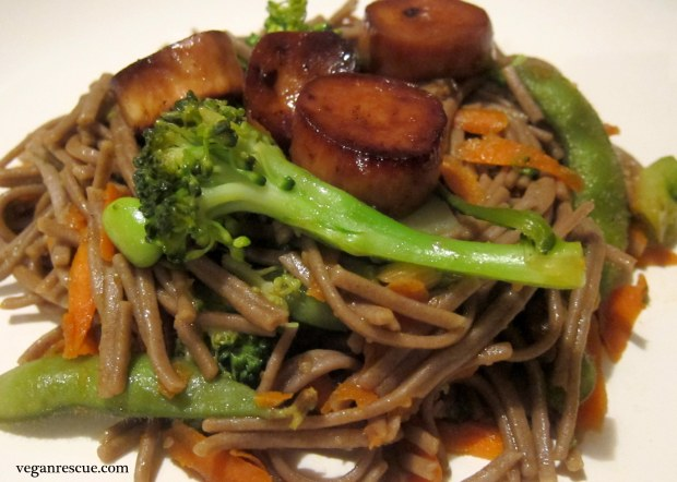 Soba Noodles and Asian Scalloped Mushrooms